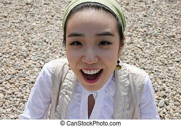 femme, asiatique, joli