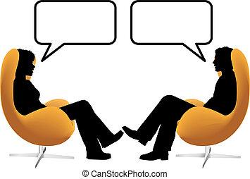 femme, asseoir, chaises, couple, oeuf, parler, homme