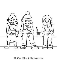 femme, asseoir, isolated., gens, deux âges, jeune, autre, pay., bench., chaque, pas, musi., attention, écouter
