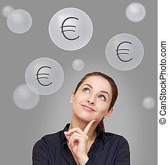 femme, au-dessus, pensée, haut, gris, regarder, fond, signes, heureux, euro