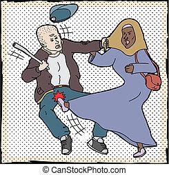 femme, autodéfense, musulman