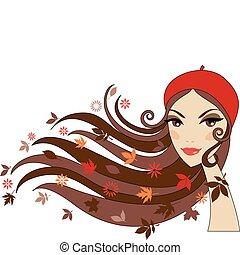 femme, automne