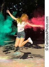 femme, autour de, elle, vibrant, jeune, couleurs, sauter, exploser, frais