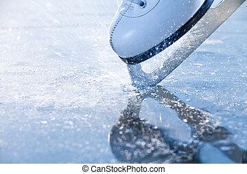 femme, autour de, voler, frazil, freinage, glace, patins