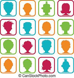 femme, avatars, coloré, homme