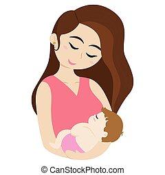 femme, bébé