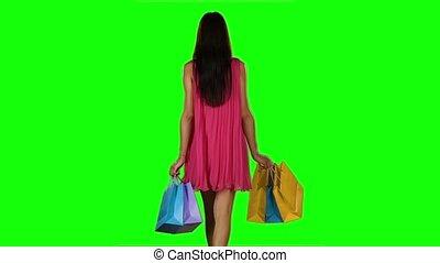 femme, bags., achats, screen., clothes., mouvement, lent, brunette, vert, achat
