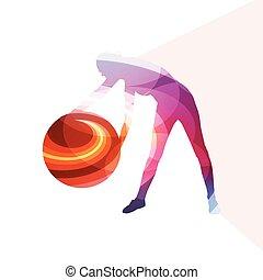 femme, balle, coloré, illustration, fond, fitness, concept, silhouette