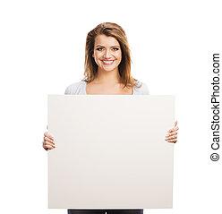 femme, bannière, publicité