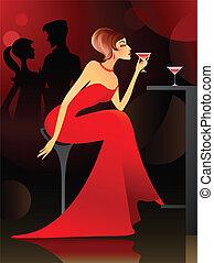 femme, barre, avoir, cocktail