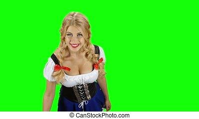 femme, bavarois, bière, quelqu'un, vert, déguisement, oktoberfest., écran, donne