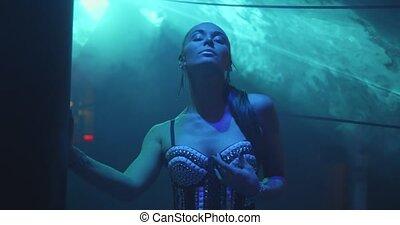 femme, beau, disco, boîte nuit, laser, danseur