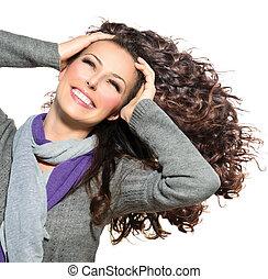femme, beauté, bouclé, sain, longs cheveux, souffler, hair.