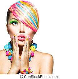 femme, beauté, coloré, clous, maquillage, accessoires, cheveux