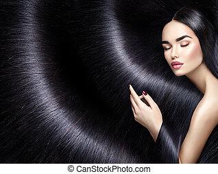 femme, beauté, directement, longs cheveux, arrière-plan., brunette, noir