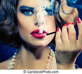 femme, beauté, embouchure, portrait., retro, fumer, girl