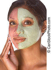 femme, beauté, expérimental, traitement, facial, spa