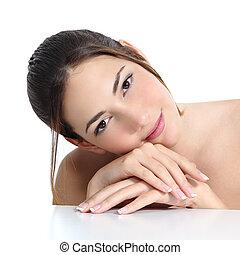femme, beauté, francais, figure, manucure, mains