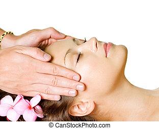 femme, beauté, obtenir, facial, spa, day-spa, massage.