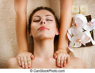 femme, beauté, obtenir, massage., spa, masage
