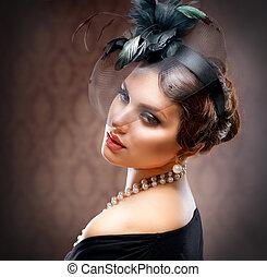 femme, beauté, retro, portrait., jeune, vendange, beau, styled.