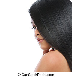 femme, beauté, sain, directement, isolé, longs cheveux, brunette, asiatique, portrait, blanc