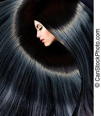 femme, beauté, sain, long, brunette, noir, hair.