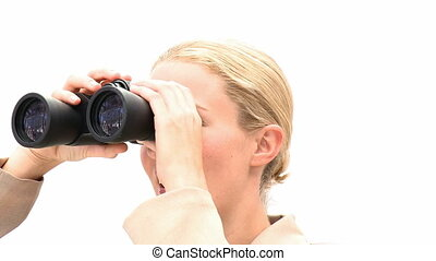 femme, binoculaire, blonds, business