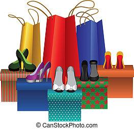 femme, boîtes, sacs provisions, chaussures