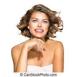 femme, bouclé, beauté, sur, jeune, cheveux, court, white., portrait