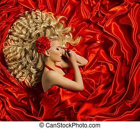 femme, bouclé, coiffure, couleur, longs cheveux, mode, cheveux, girl, boucle, modèle, rouges, style