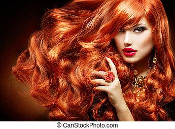 femme, bouclé, long, mode, hair., portrait, rouges