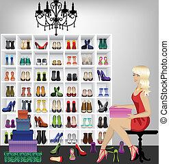 femme, boutique, essayer, chaussures, blond