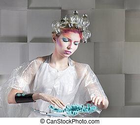 femme, bouton, virtuel, toucher, séduisant, interface, blond