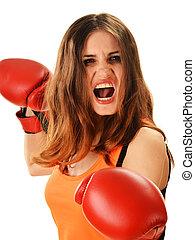 femme, boxe, jeune, gants, portrait, rouges
