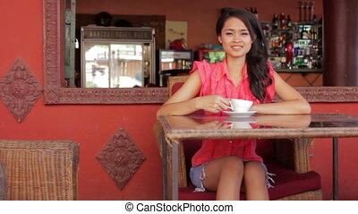 femme, café, asiatique, magnifique