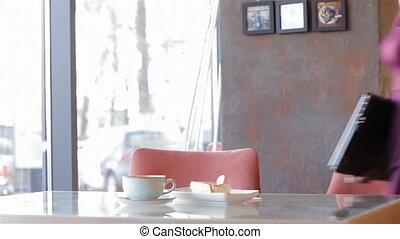 femme, café, séduisant, business, séance