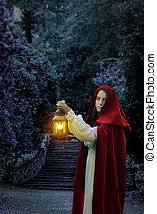 femme, cap rouge, lanterne