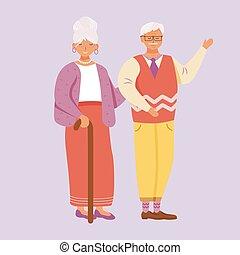 femme, caractère, homme souriant, vieilli, couple, accueillir, dessin animé, personne agee, plat, debout, illustration., ensemble, heureux, vecteur, gai, grandma., grandparents., fond, papy, isolé, violet