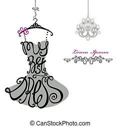 femme, chandelier., gabarit, dress., mieux, silhouette., mots, robe