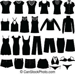 femme, chemise, tissu, usure, femme, girl