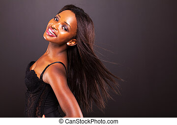 femme, cheveux, américain, africaine, long