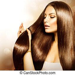 femme, cheveux, beauté, toucher, brun, sain, long, elle