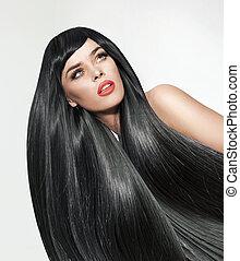 femme, cheveux droits, long., portrait, broussailleux