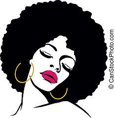 femme, cheveux, hippie, art, afro, pop