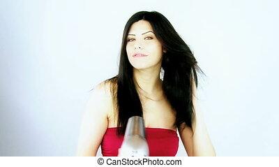 femme, cheveux, sécher, long, coup