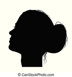 femme, chignon cheveux, profil