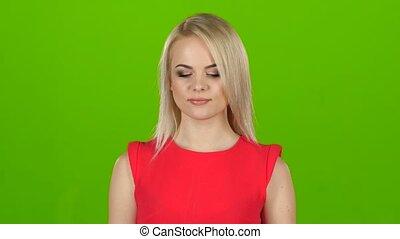 femme, clignements, écran, une, robe verte, rouges, eye.