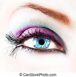 femme, closeup, résumé, oeil, beau