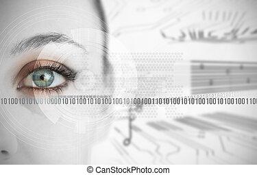 femme, codes, binaire, haut fin, oeil, suivant